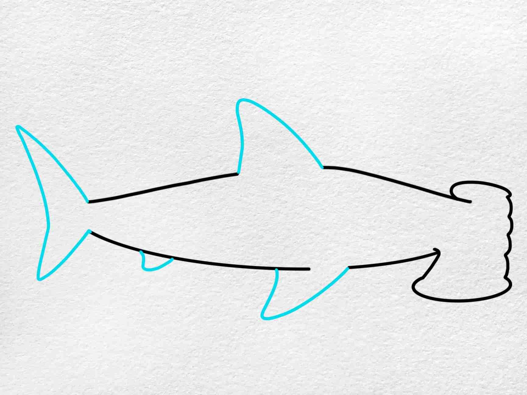 How To Draw A Hammerhead Shark: Step 4