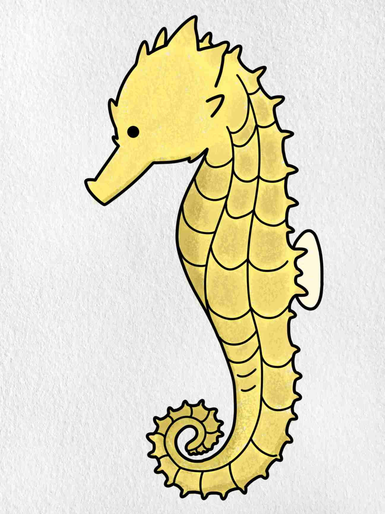How To Draw A Seahorse: Step 9