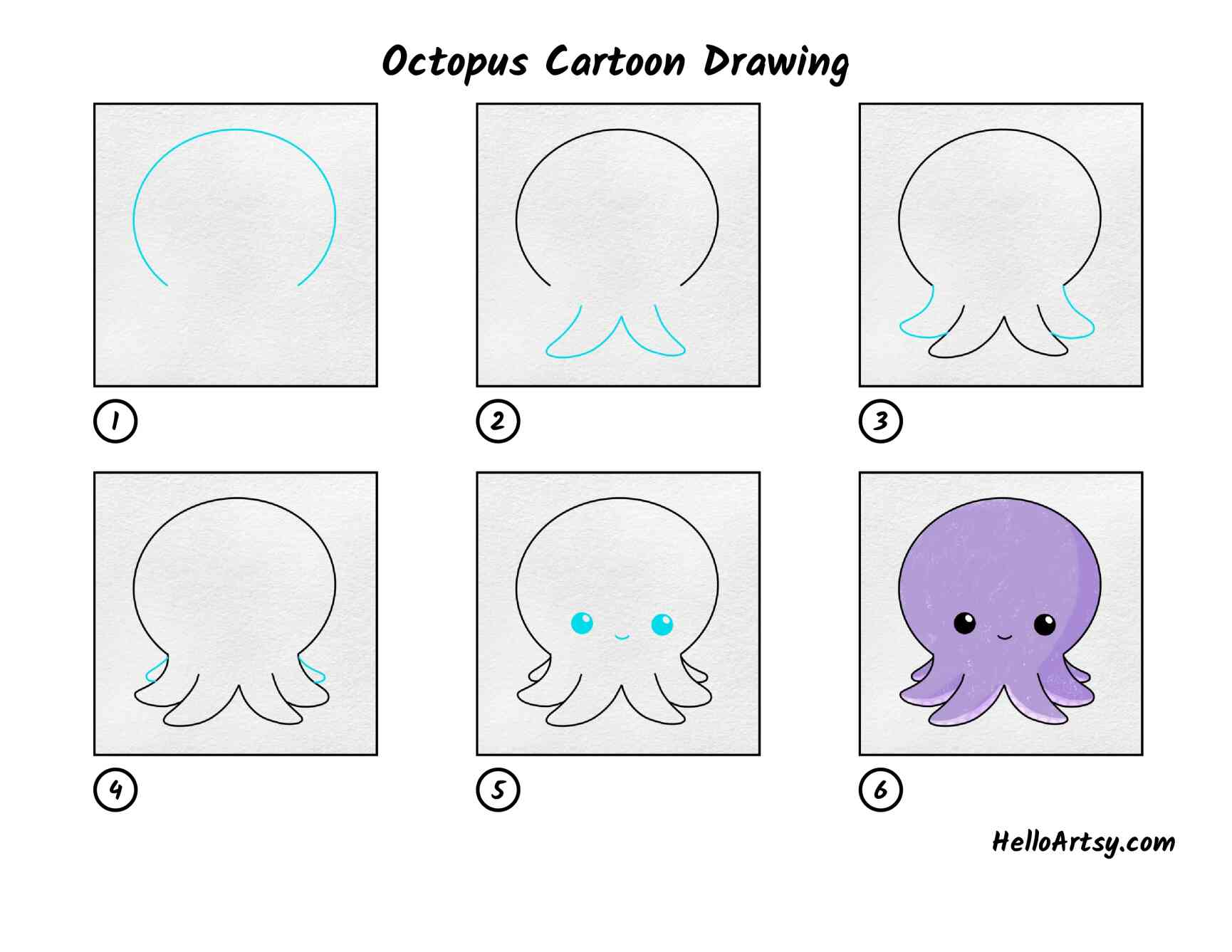 Octopus Cartoon Drawing: All Steps