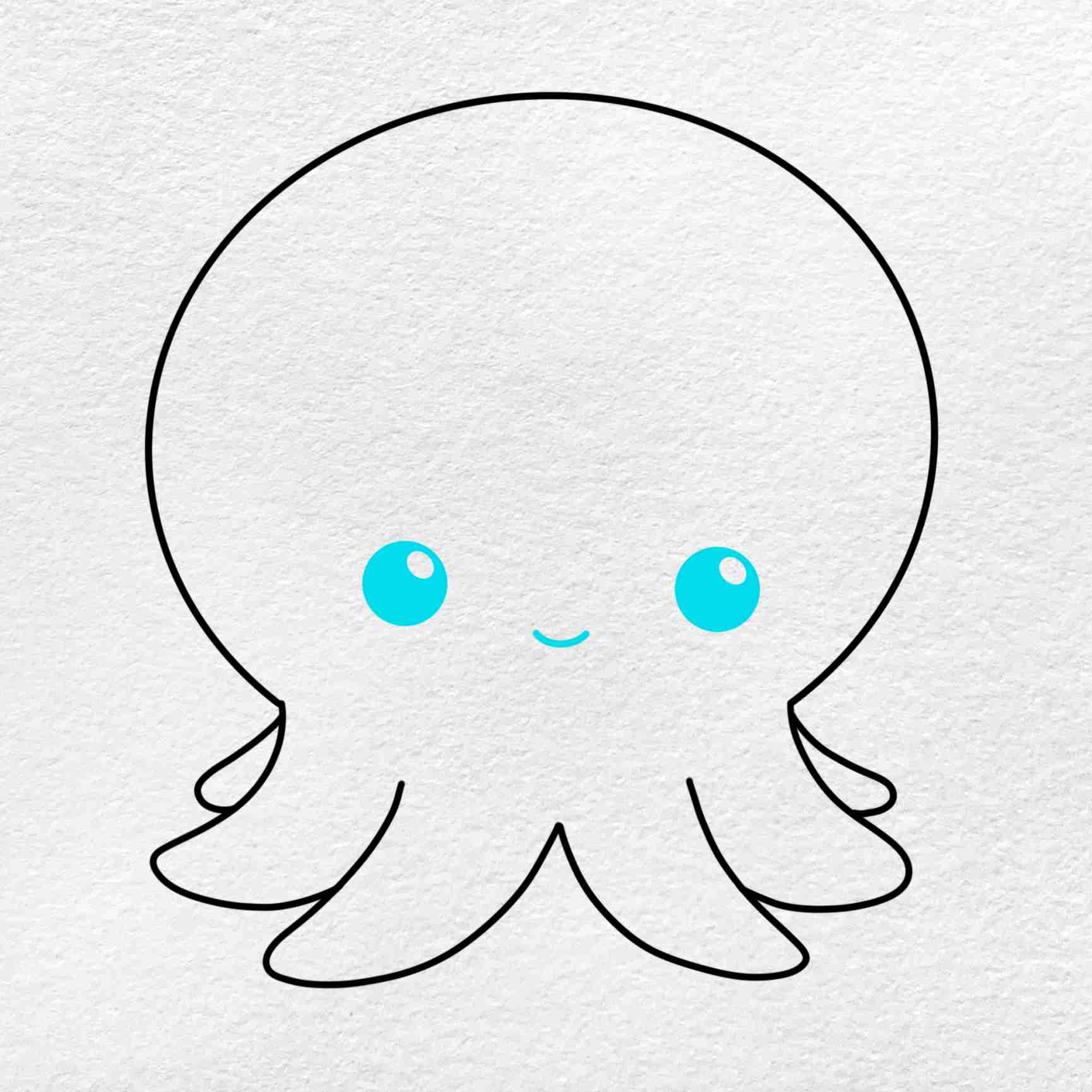 Octopus Cartoon Drawing: Step 5