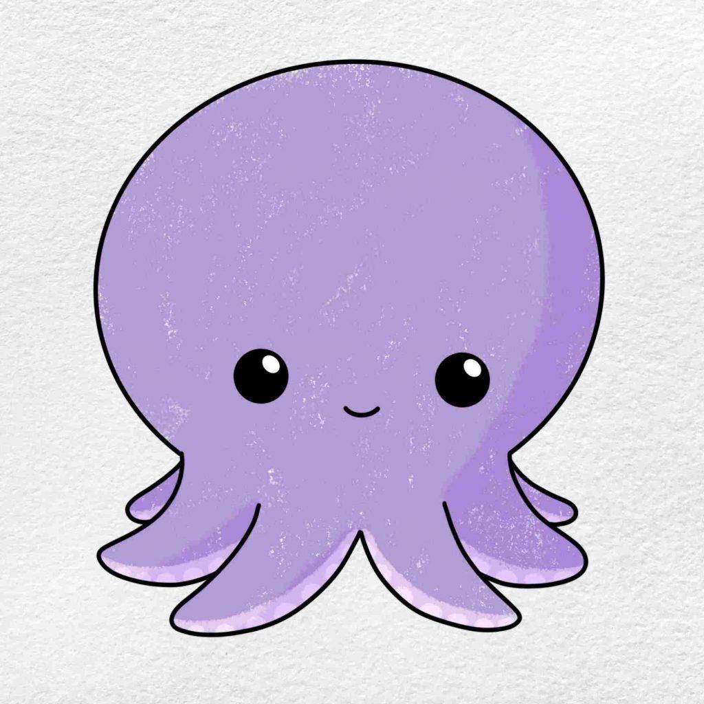 Octopus Cartoon Drawing: Step 6